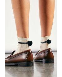 Hansel From Basel Andre Rib Pom Socks - White