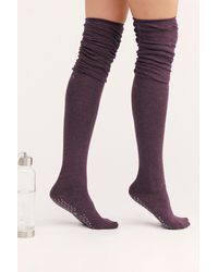 Free People Charlie Ruched Over-the-knee Socks By Tavi Noir - Purple