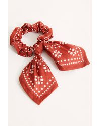 Free People Knotted Bandana Pony Scrunchie - Red