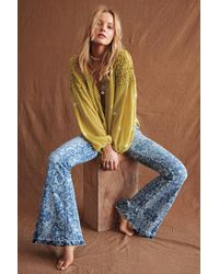 Free People Dream Lover Flare Printed Jeans By We The Free - Blue