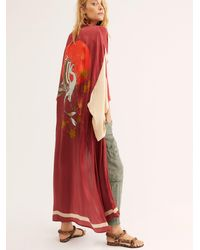 Free People Rising Sun Maxi Kimono - Red
