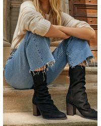 Free People Elle Block Heel Boots - Black