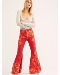 Free People - Just Float On Printed Flare Jeans - Lyst