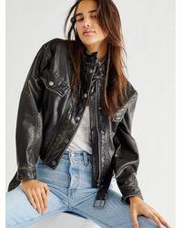 Free People Everson Vegan Moto Jacket - Black
