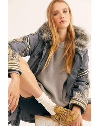Free People Fur Trimmed Golden Quills Military Parka By We The Free - Multicolour