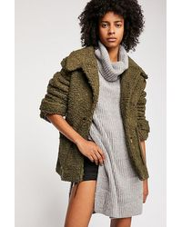 Free People So Soft Cosy Peacoat - Green