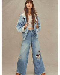 Free People Old West Slouchy Jeans - Blue