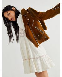 Free People Afterglow Leather Jacket - Brown