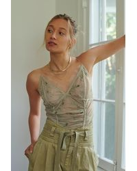 Free People Daydream Embroidered Cami By Intimately - Green