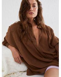 Free People Tuck Up Tuck In Sleep Shirt - Brown
