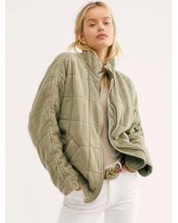 Free People Dolman Quilted Knit Jacket - Green