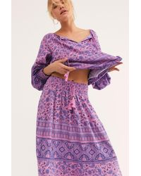 Free People Journey Midi Skirt By Spell And The Gypsy Collective - Purple