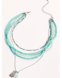 Free People Layered Beaded Necklace - Blue