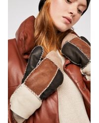 Free People Siberia Patchwork Shearling Mitten By Ricardo B.h. - Multicolor