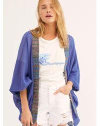 Free People Bonita Trim Crochet Kimono - Blue