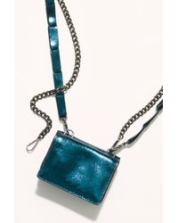Free People Talk Of The Town Metallic Wallet - Blue