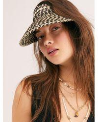 Free People Island Hopper Speckled Straw Visor By Beachgold - Black