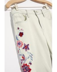 Free People Driftwood Farrah Embroidered Flare Jeans - Multicolor