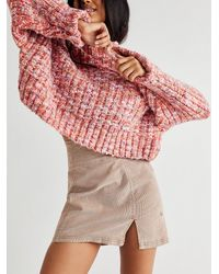 Free People Holding Onto A Dream Cord Mini Skirt - Multicolor