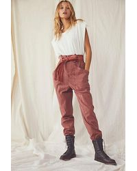 Free People Ready To Run Cinch Waist Trousers - Red