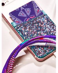 Free People Leather Iphone Pocket - Purple