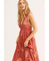 Free People - Run Away With Me Embroidered Midi Dress - Lyst
