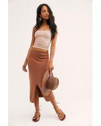 Free People Skyline Midi Skirt - Brown