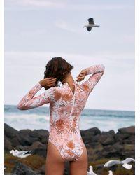 Free People Ohana Long Sleeve Full Piece Swimsuit - White