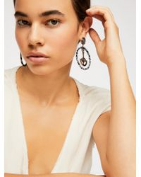 Free People Fabric Wrapped Pendulum Earrings - Black