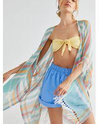Free People Tan Lines Woven Kimono - Blue