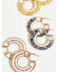 Free People Beyond Beaded Hoop Earrings - Metallic