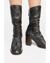 Free People Elle Block Heel Boots By Fp Collection - Black