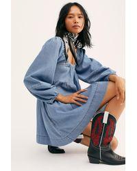 Free People Lou Jean Babydoll Dress - Blue