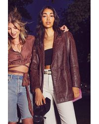 Free People Dare Me Croc Leather Blazer - Brown