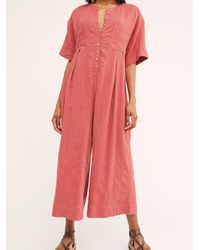 Free People Current Obsession Jumpsuit By Endless Summer - Pink