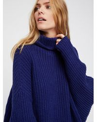 Free People Clothes Jumpers Pullovers Swim Too Deep Pullover - Blue