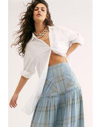 Free People Plaid Fever Midi Skirt - Blue