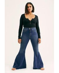 Free People Crvy Super High-rise Lace-up Flare Jeans - Blue