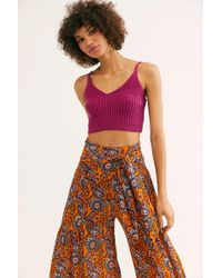 Free People Fp One Aloha Printed Wide-leg Pants - Orange