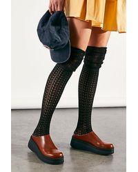 Free People Pointelle Over-the-knee Scrunch Socks - Black
