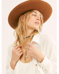 Free People Goldfinger Western Felt Hat By Lack Of Colour - Brown