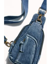 Free People Hudson Acid Wash Sling Bag By Fp Collection - Blue