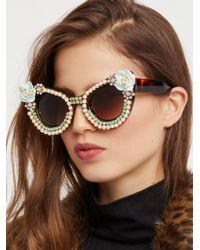 Free People - Debutante Embellished Sunglasses - Lyst