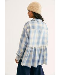 Free People Dylan Plaid Babydoll Top By We The Free - Blue