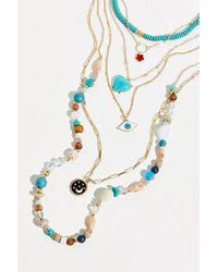 Berry Wonderland Evil Eye Layered Necklace - Metallic