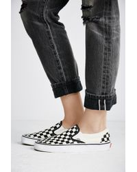 Free People Classic Checkered Slip-on By Vans - Black