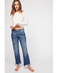 Free People Maggie Mid-rise Straight-leg Jeans - Blue