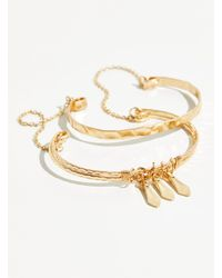 Free People Double Stacked Arm Cuff - Metallic