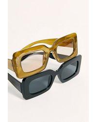 Free People Temptation Rectangle Sunglasses - Black