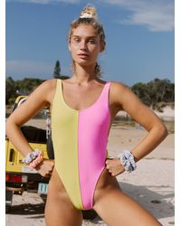 Free People Block High-cut One-piece Swimsuit By Gnash Swim - Pink